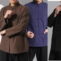 4colors blue/black/coffee/whitemale Pure cotton chinese traditional tang suits martial arts shirts kung fu tai chi clothing