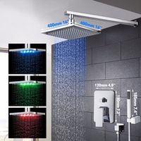 "YANKSMART LED Bathroom Shower Set Brass Chrome Wall Mounted 16"" Shower Head Hand"