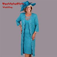 Elegant Blue Lace Knee Length Scoop Mother Of The Bride Dresses 2017 Sheer with 3-4 Sleeves Long Jacket Custom Made