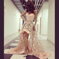 Honey Qiao Myriam Fares Celebrity Dresses 2017 Light Pink Applique Sweetheart High Low Arabic Dubai Abiye Elegant Evening Gowns