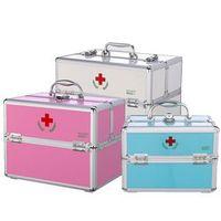 Aluminum alloy double open medicine box family with a lock medicine box multi - storey first aid box cosmetics storage box