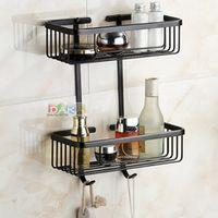 2016  Bathroom Accessories, Dual Tier Brass Material Black Finish Shower Shelf Corner&Shower Basket/ Fashion Strong Shelf