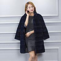 Full leather Rex Rabbit Fur Overcoat for women Natural Solid color Medium-long Warm cozy fur coat nratural fur waistcoat#C9004