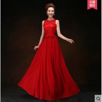 LAKD0307HF#The new spring summer 2017 red chiffon Lace Up round collar bride married toast dress long Bridesmaid Dresses cheap