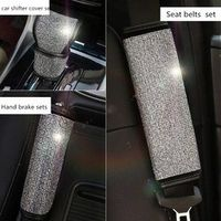 KAYSHION Crystal Rhinestone Shifter Covers Hand Brake Grips Set Seat Belt Protector
