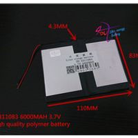 3.7V 6000mAH 4311083 polymer lithium ion / Li-ion battery for tablet pc e-book