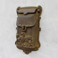 Vintage Brass Cast Mailbox Postbox Mail Wall Mounted