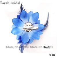 sarahbridal Feather Flower Women Corsage Brooch Wedding