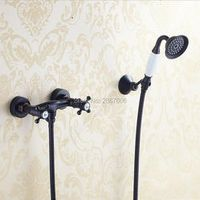GIZERO Dual Handles Black Bronze Shower Faucet Handheld Shower Head Bathroom