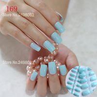 QMASEY Sky Blue False Nail Tips Press On Beauty Nail Art Acrylic UV Gel Manicure DIY