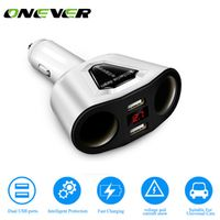 Onever 3.1A Dual USB Car Charger Adaptor With Voltage Current Display Car 2 Sockets