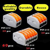 Lisxchda 60 PCS Wago type PCT-212 213 215 2P 3P 20pcs 5P Universal Compact Wire