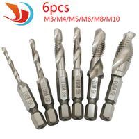 6pcs/set Hand Tap Drill Hex Shank HSS Screw Spiral Point Thread Metric Plug Drill Bits M3 M4 M5 M6 M8 M10 Hand Tools