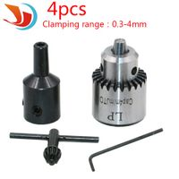Watchmakers Electric Drill Chuck 0.3-4mm Jt0 Taper Mounted Lathe Pcb Mini Drill Chuck Key Kit With 8mm black Shaft