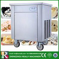 Single flat round pan air compressor fried ice cream roll