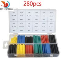 280Pcs 12 Sizes Polyolefin Assorted 2:1 Heat Shrink Tubing Tube Sleeve Wire Kit With Box 5 Colors Heat Shrink Tube