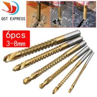 QSTEXPRESS  tool 6pcs/set Drill & Saw Set HSS Steel Titanium Woodworking Wood 3/4/5/6/6.5/8mm drill
