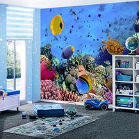 Custom Size 3D Stereo Cartoon Underwater World Blue Ocean Photo Mural Wallpaper for Children's Room Bedroom Backdrop Wall Paper