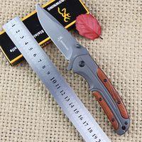 hot! Browning DA43 pocket folding knife camping hunting tactics survive knives wooden handle titanium version blade Outdoor tool