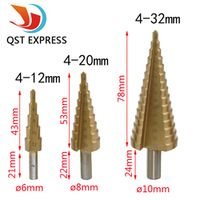 4-12mm 4-20mm 4-32mm HSS 4241 Steel Large Step Cone Titanium Coated Metal Drill Bit Cut Tool Set Hole Cutter Wholesale