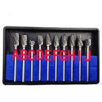 "New 10pc 1/8"" Shank Tungsten Carbide Milling Cutter Rotary brocas com escareador hss steel cone drill set diamond drill 3x6mm"