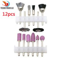 12PCS  Abrasive Tools Set Rotary Tool Mill Cutter Sander Paper Wire Brush Polishing Head Grinding Accessories use for Dremel