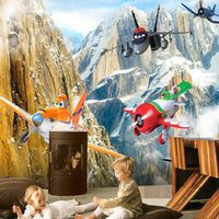 Custom Size Cartoon Airplane Photo Mural Wall Paper for Kid's Room 3D Background Wall Environment Friendly Non-woven Wallpaper
