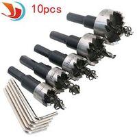 10pcs/ set Carbide Tip HSS Drills Bit Hole Saw Set Stainless Steel Metal Alloy 16/18.5/20/25/30mm