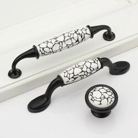 Single/ 96mm/ 128mm Crack black and white ceramic handle European cabinet drawer Furniture Handles