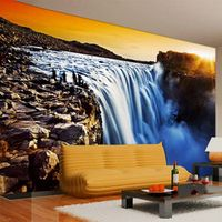 Custom 3D Mural Wallpaper Waterfall Sunset Nature Scenery Photo Wallpaper Living Room Bedroom Home Decor Papel De Parede 3D Sala