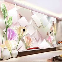 Custom Size 3D Stereo Square Flowers Photo Mural Wallpaper for Bedroom Living Room TV Backdrop Simple Interior Design Wall Paper