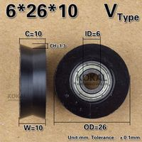 Free Shipping 10PCS 626zz deep groove ball bearing coated with PA66 pulley roller V groove rope roller 6*26*10