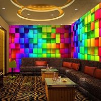Colorful 3D Stereo Cube Wall Paper for Night Club House Decor KTV Living Room Wallpaper Custom Size Mural Non-woven Wallpaper