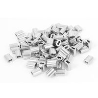 """UXCELL 1/16"""" Wire Rope Aluminum Sleeves Clip Fittings Cable Crimps 100 Pcs"""