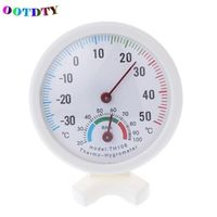 OOTDTY Thermometer Desk Round Clock-shaped Indoor Outdoor Hygrometer Humidity Mini