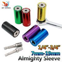 Multicolor Universal Torque Wrench Set Head Key Sleeve Socket 7-19mm Ratchet Spanner Power Drill Kits Magical Gator Grip Bushing
