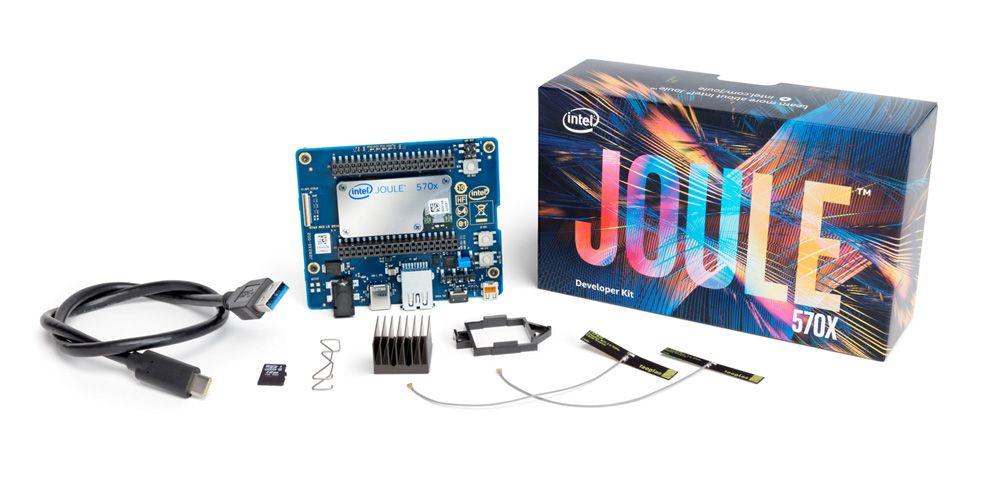 Intel Joule, a sophisticated maker board with an Intel RealSense depth-sensing camera targeted at Internet of Things developers, entrepreneurs and established enterprises. (Credit: Intel Corporation)