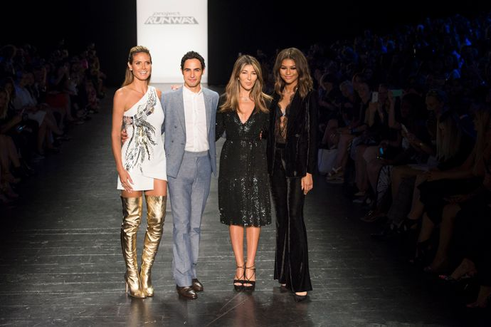 """Project Runway"" hosts and judges (from left) Heidi Klum, Zac Posen, Nina Garcia and Zendaya will be part of the show's 15th season finale. (Credit: Pawel Kaminksi; Courtesy of Lifetime Television)"