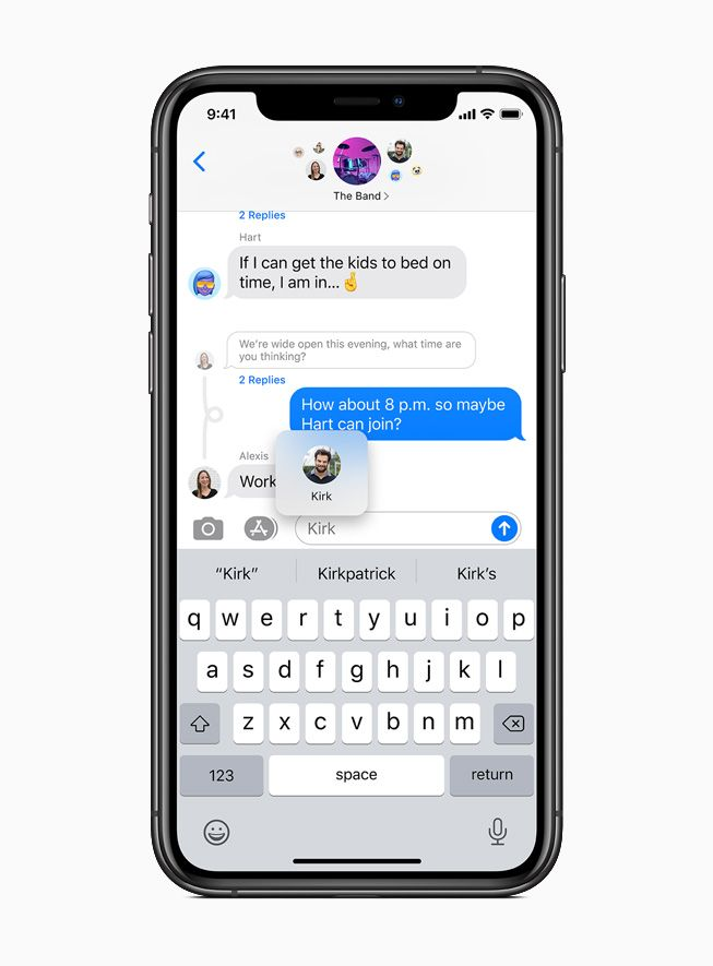 New Pinned conversations feature in Messages displayed on iPhone 11 Pro.