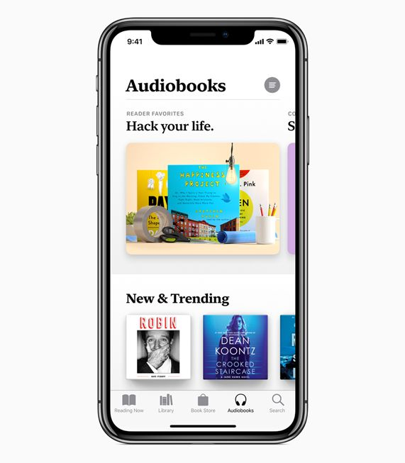 iPhone X showing Audiobooks screen in Apple Books.