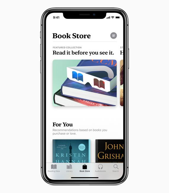 iPhone X showing Book Store screen in Apple Books.