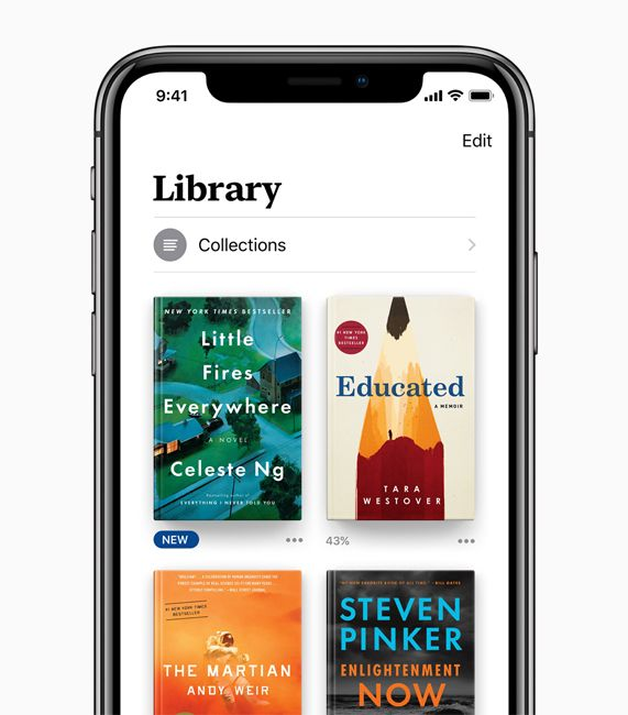 Library screen in Apple Books showing Collections including Little Fires Everywhere by Celeste Ng and Educated by Tara Westover.