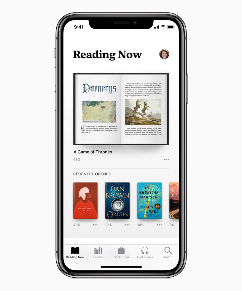 Reading Now screen in Apple Books showing Daenerys chapter in A Game of Thrones.
