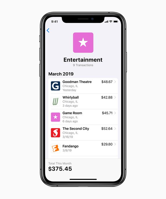 iPhone screen showing Entertainment transactions.