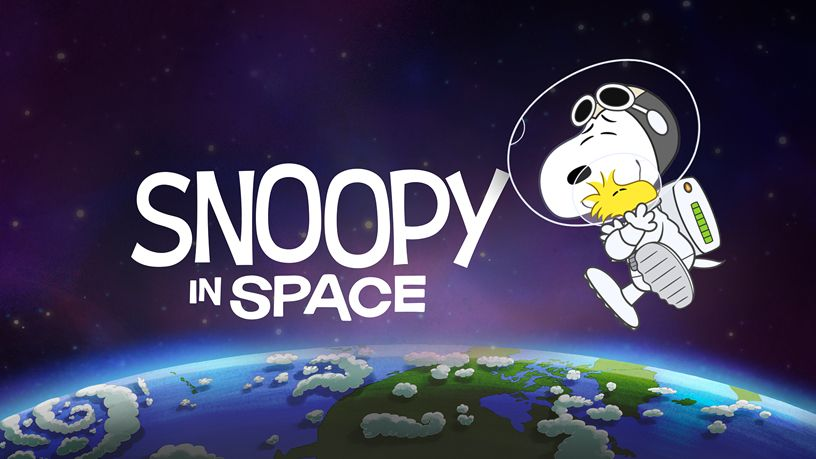 "Title screen for ""Snoopy in Space."""