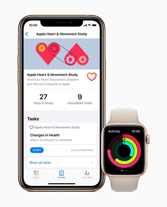 iPhone showing the Apple Heart and Movement Study and Apple Watch showing Activity rings.