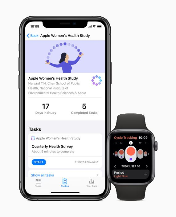 iPhone showing the Apple Women's Health Study and Apple Watch showing the Cycle Tracking app.