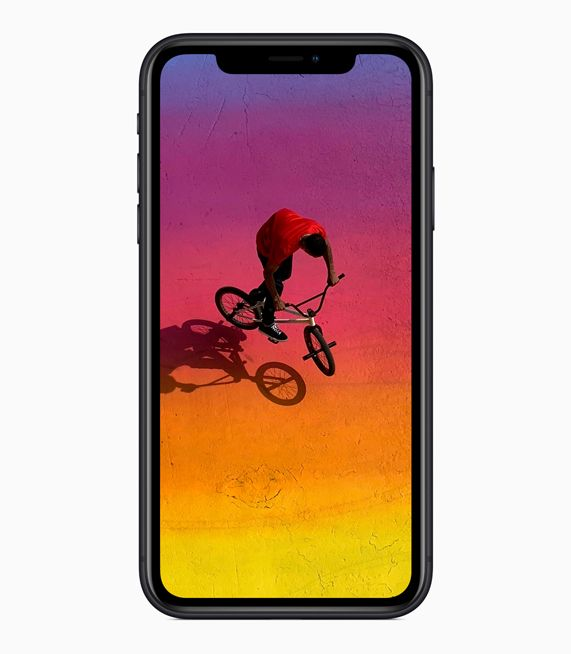 iPhone XR showing all-screen Liquid Retina display.