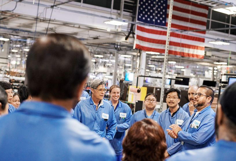 Workers at the Mac Pro manufacturing facility in Austin, Texas.