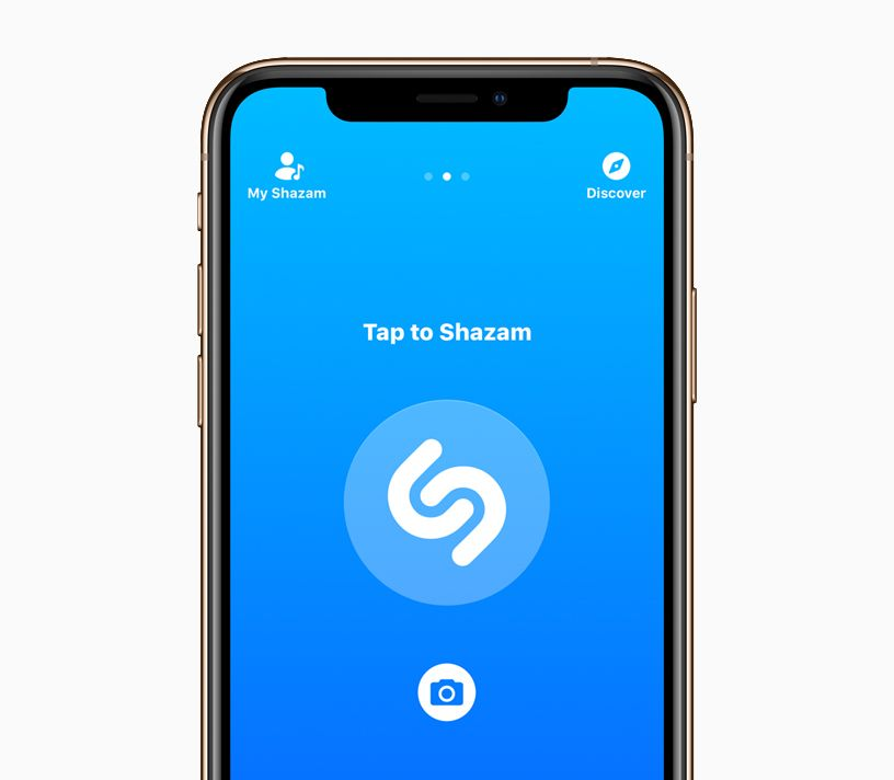 iPhone X with Tap to Shazam screen.